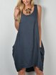 Women Linen Dress Pockets Solid Cocoon Sleeveless Caftan