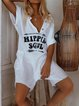 Short Sleeve Letter V Neck Happy Soul One-Pieces