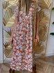 V Neck Boho Women Dresses Going Out Printed Leaf Dresses