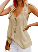 Summer Camis V-Neck Buttoned Spaghetti Tops