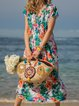 Printed Floral V Neck Shift Holiday Plus Size Maxi Dresses