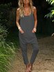 Sleeveless Casual Solid One-Pieces