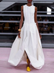 Casual Crew Neck Solid Cotton-Blend Dresses