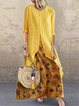 Long Sleeve Casual Cotton-Blend Printed Dresses