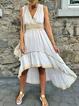 Women Caftan V-Neck High Low Hem Sleeveless Holiday Dresses