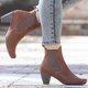 Fashion Elastic Slip On Chunky Heel All Season Booties