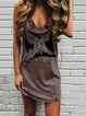 Crew Neck Brown Women Dresses Shift Daily Animal Dresses