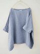 Half Sleeve Linen Casual Solid Paneled Summer Crew Neck Blouses