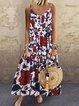 Casual Crew Neck Sleeveless Printed Maxi Dresses
