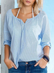 Stripes Casual V Neck 3/4 Sleeve Shirts & Tops