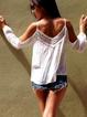 White Cotton Casual Guipure Spaghetti Shirts & Tops