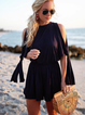 Cold Shoulder Casual Crew Neck One-Pieces