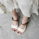 Genuine Leather Open Toe Chunky Heels Buckle Sandals