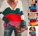 Knitted Casual V-neck Colorful Plus Size Sweater