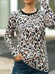 Leopard Print Round Neck Long Sleeve Shirts