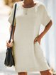 Apricot Casual Cotton-Blend Solid Pockets Dresses