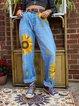 Plus Size Sunflower Print Women Denim Pants Jeans