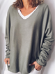 Long Sleeve Casual Solid V Neck Shirts & Tops
