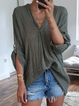 Half Balloon Sleeve V-Neck Solid Blouse Top