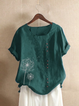 Vintage Print Flower Short Sleeve Button T-Shirt