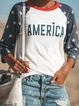 As Picture Letter Crew Neck 3/4 Sleeve Cotton Shirts & Tops