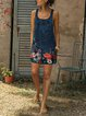 Floral  Denim strap dress