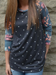 As Picture Casual Floral Crew Neck Shirts & Tops