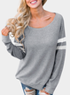 Cotton-Blend Long Sleeve Scoop Neckline Casual Shirts & Blouses