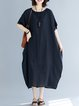 Crew Neck Women Dresses Cocoon Daily Casual Linen Dresses