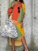 V Neck Yellow Women Dresses Shift Date Color-Block Dresses