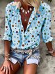 Casual Floral-Print Long Sleeve Cotton Shirts