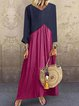 V Neck Women Long Sleeve Color-Block Maxi Dresses