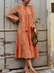 Casual Laser-cut Stand Collar Long Slaave Maxi Dress