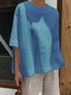 Half Sleeve Cotton-Blend Round Neck Shirts & Blouses