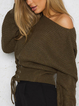 Casual Lace-Up Long Sleeve Knitted Shirts Tops
