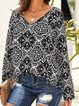 Boho Printed Chiffon Long Sleeves V-neck Blouse Tops