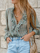 Green Long Sleeve V Neck Floral Casual Shirts  Tops
