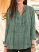 Green Gray Checkered/plaid Long Sleeve Vintage Shirts & Tops