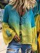 Plus Size Casual Vintage Ombre Long Sleeve Blouse