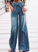 Blue Denim Casual Plain Pants