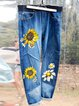 Printed Washed Patchwork Denim Sweet Pants