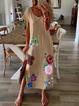 Cotton Casual Short Sleeve Floral-Print Dresses