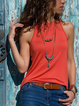 Red Cotton Sleeveless Shirts & Tops