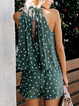Summer Polka Dots Printed Crew Neck Shift Sleeveless Rompers
