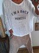 Casual Letter Printed V-neck Long Sleeve Shirt