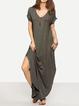 Shift Women Daily Short Sleeve Basic Slit Solid Summer Dress