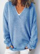 Cotton-Blend Long Sleeve V Neck Shirts & Tops