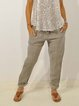 Beige Casual Plain Cotton-Blend Pants