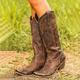 Bohemia Cowgirl Boots Buckle Boots Medium Heel Retro Boots