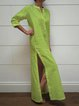 Stand Collar Women Dresses Going Out Cotton Slit Dresses